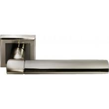 Ручка дверная на квадратной розетке MORELLI DIY MH-21 SN/BN-S белый никель/черный никель