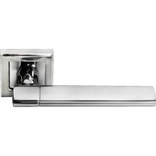 Ручка дверная на квадратной розетке MORELLI DIY MH-21 SC/CP-S матовый хром/полированный хром