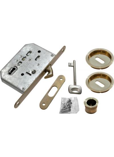 "Комплект для раздвижных дверей (ручки, замок под ключ-""буратино"") MORELLI MHS-1 L AB бронза"