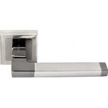Ручка дверная на квадратной розетке MORELLI DIY MH-35 SN/BN-S белый никель/черный никель