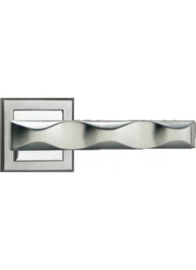 Ручка дверная на квадратной розетке MORELLI MH-20 SC/CP-S матовый хром/полированный хром