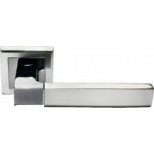 Ручка дверная на квадратной розетке MORELLI DIY MH-28 SN/BN-S белый никель/черный никель