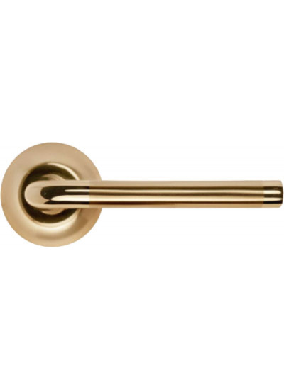 Ручка дверная на круглой розетке MORELLI MH-03 SG/GP матовое золото/золото