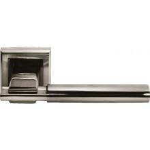 Ручка дверная на квадратной розетке MORELLI DIY MH-13 SN/BN-S белый никель/черный никель
