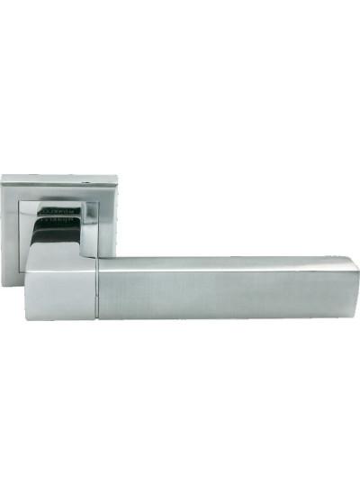 Ручка дверная на квадратной розетке MORELLI MH-28 SC/CP-S матовый хром/полированный хром