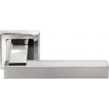 Ручка дверная на квадратной розетке MORELLI DIY MH-37 SN/BN-S белый никель/черный никель