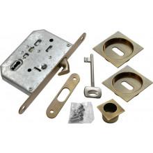 "Комплект для раздвижных дверей (ручки, замок под ключ-""буратино"") MORELLI MHS-2 L AB бронза"