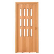 Дверь-гармошка (остекленная) - «Фаворит» - Бук темный