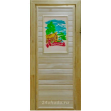 Дверь из Липы - (Глухая) - 3D пано - Банька