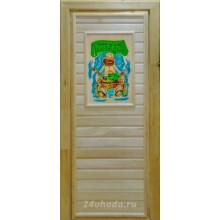 Дверь из Липы - (Глухая) - 3D пано - Банный день