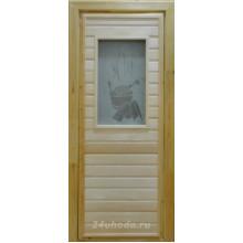 Дверь из Липы - (Остекленная) - Сатин с рисунком - Банька