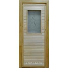 Дверь из Липы - (Остекленная) - Сатин с рисунком - Девушка