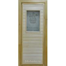 Дверь из Липы - (Остекленная) - Сатин с рисунком - Веник