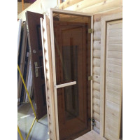 Стеклянная дверь в парную «Бронза прозрачная» - (стекло 8 мм, 1900х700мм)