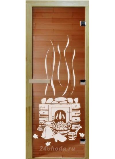 Стеклянная дверь - (Для бани и сауны 1900х700мм) - Бронза банька