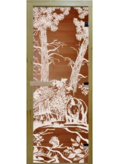 Стеклянная дверь - (Для бани и сауны 1900х700мм) - Бронза мишки