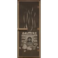 Стеклянная дверь в парную «Черная банька» - (стекло 8 мм, 1900х700мм)