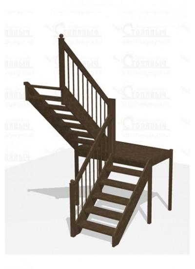 Лестница П-образная с площадкой - Эконом