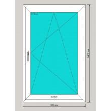 Окно ПВХ 900х1400 мм - (одностворчатое, 3-камерный профиль, поворотно-откидное)