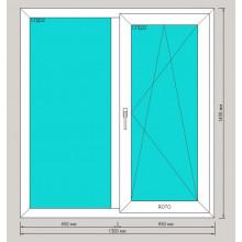 Окно ПВХ 1300х1400 мм - (двустворчатое, 3-камерный профиль, правая створка поворотно-откидная)