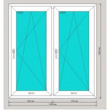 Окно ПВХ 1300х1400 мм - (двустворчатое, 3-камерный профиль, обе створки поворотно-откидные)