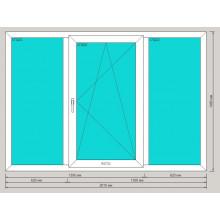 Окно ПВХ 2010х1400 мм - (трехстворчатое, 3-камерный профиль, средняя створка поворотно-откидная)