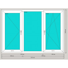 Окно ПВХ 2010х1400 мм - (трехстворчатое, 3-камерный профиль, левая поворотная / правая поворотно-откидная)