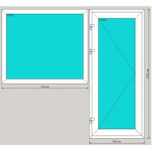 Балконная группа ПВХ 2060х2100 мм - (окно одностворчатое глухое, 3-камерный профиль, дверь поворотно-откидная)