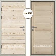 Входная деревянная дверь «ЗИМА - Имитация бруса / Царга»
