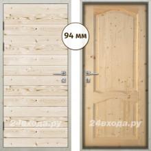 Входная деревянная дверь «ЗИМА - Имитация бруса / Каролина»