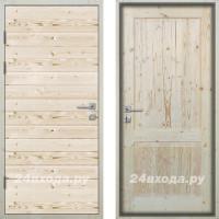 Входная деревянная дверь «ЗИМА - Имитация бруса / Классика»