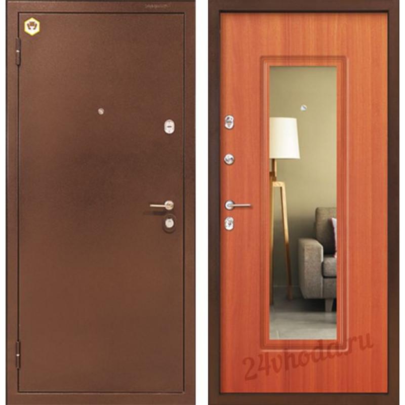 входная дверь с зеркалом орех