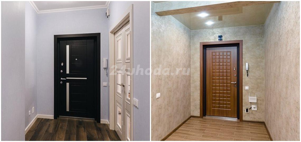 Откосы входной двери темного цвета